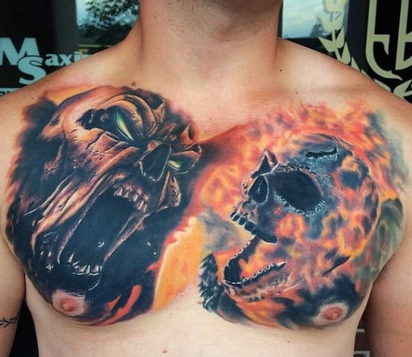 Flaming Skull Spawn Male Chest Tattoos