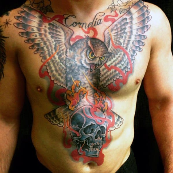 Flaming Skull Tattoos Men With Owl Design On Chest