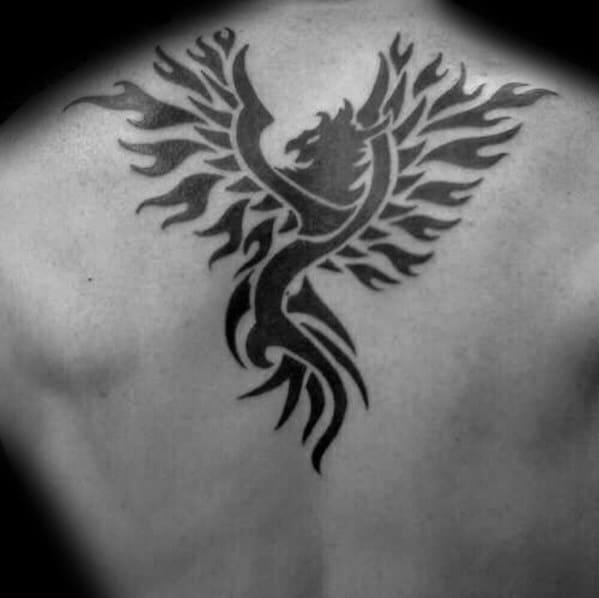 Flaming Tribal Bird Phoenix Mens Upper Back Tattoo