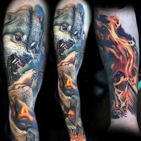 Flaming Wolves Mens Unique Sleeve Tattoo