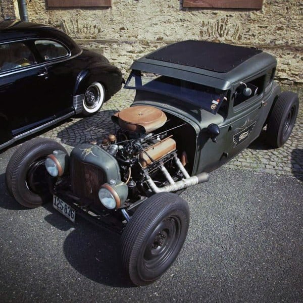 Flat Black Open Engine Badass Rat Rods