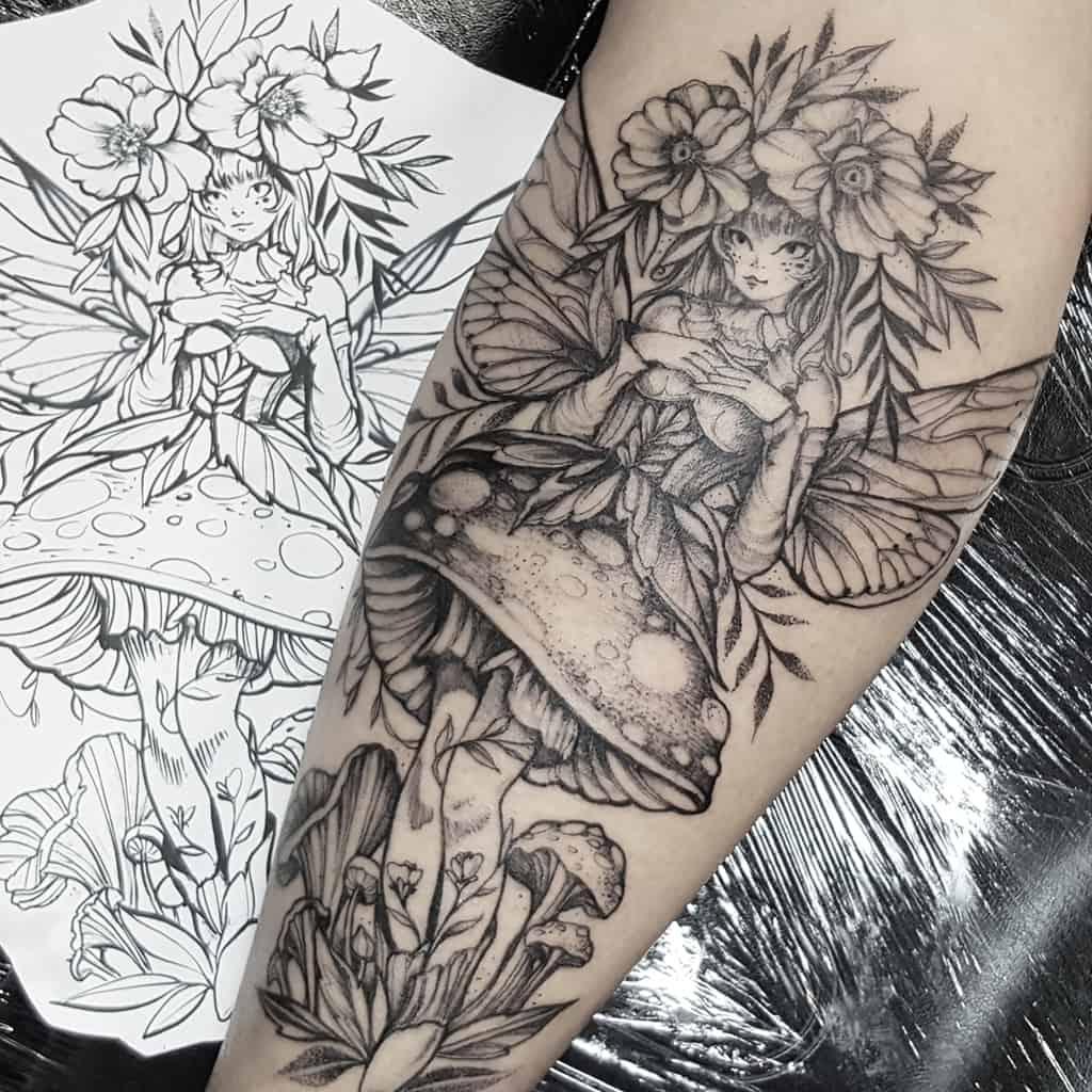Flaviaverda Mushroom Skin Art Fairy Tattoo