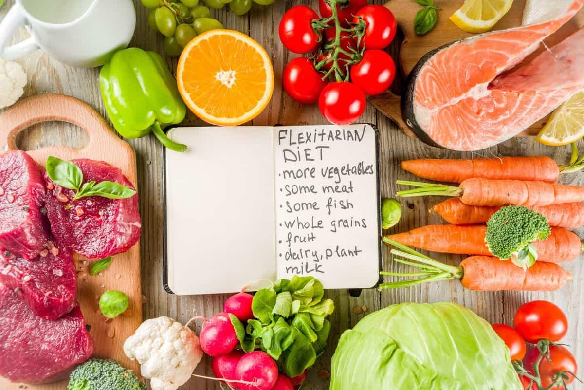 Flexitarier,Diät,Diät,,Mit,Frisch,Gemüse,,Roh,Fleisch,Und,Fisch,