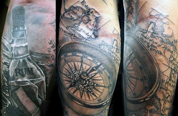 50 world map tattoo designs for men adventure the globe floating bottle at sea mens world map tattoos gumiabroncs Image collections