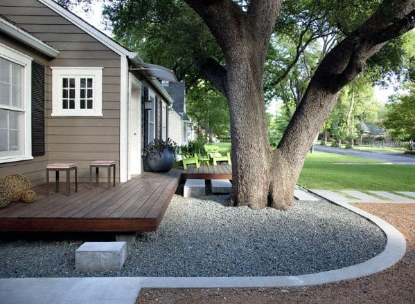 Floating Deck Cool Backyard Ideas With Gravel Landscape