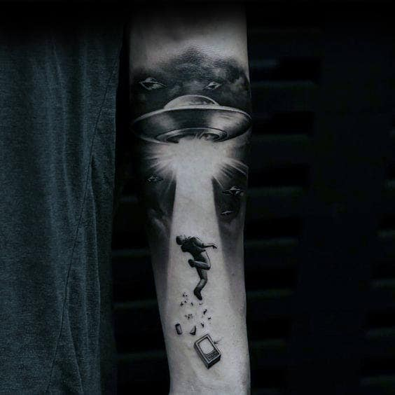 Floating Man With Ufo Spaceship Guys Inner Forearm Tattoo