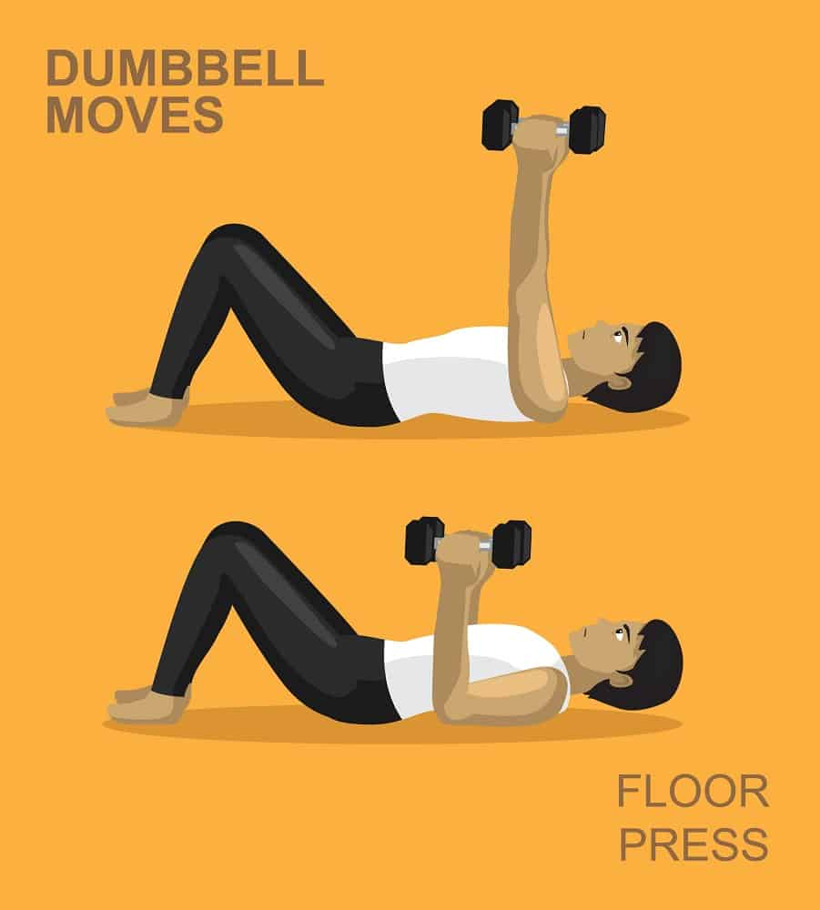dumbbell floor press moves gym illustration