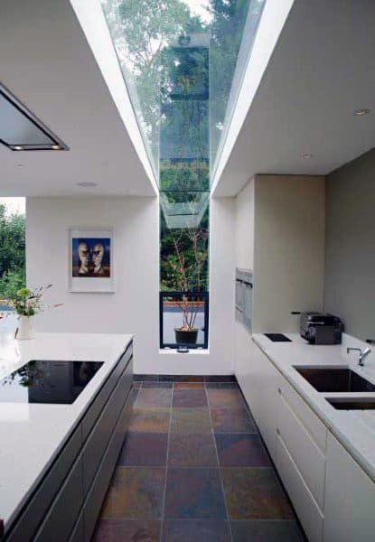 Floor To Ceiling Glass Window Skylight Modern Kitchen Ideas