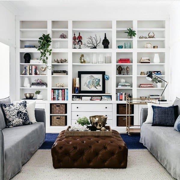 Floor To Ceiling Living Room White Bookshelves Home Ideas