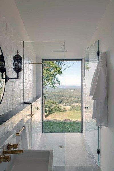 Floor To Ceiling Modern Shower Window Design Ideas