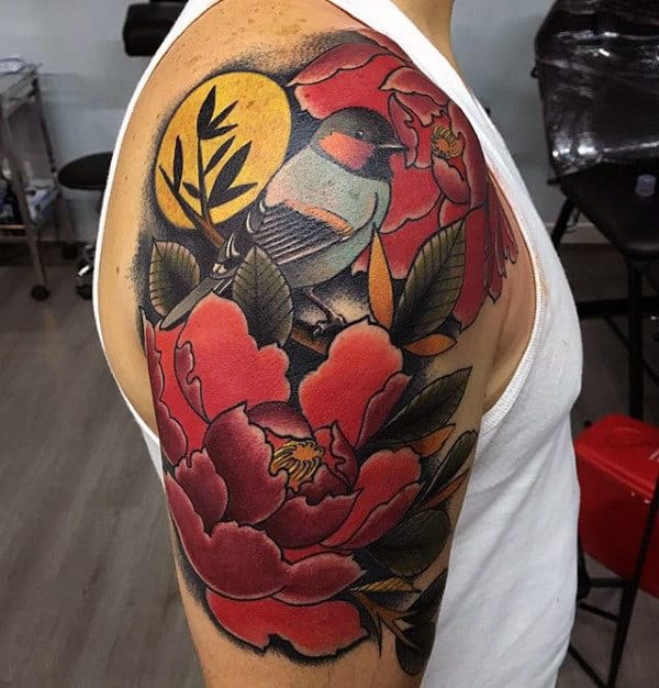 Floral Bird Artistic Guys Arm Tattoo