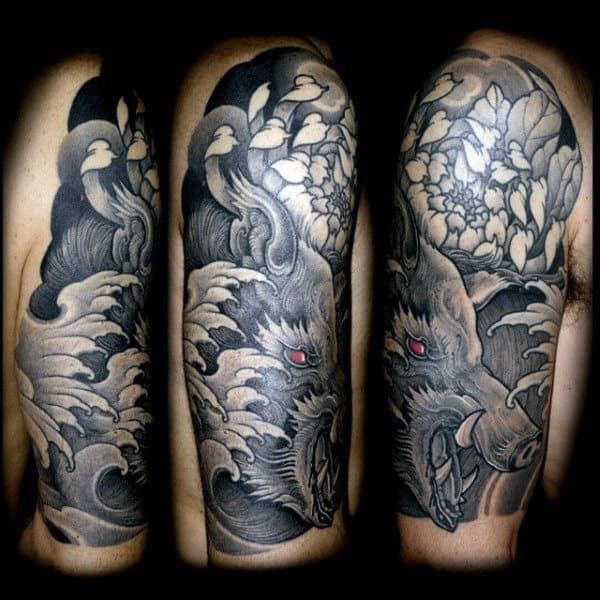 Floral Boar Guys Half Sleeve Tattoo Inspiration