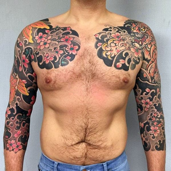 Floral Cherry Blossom With Tiger Guys Half Sleeve Japanese Tattoos