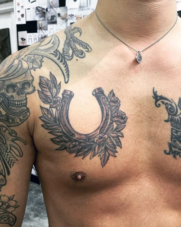 Floral Chest Horseshoe Mens Tattoo