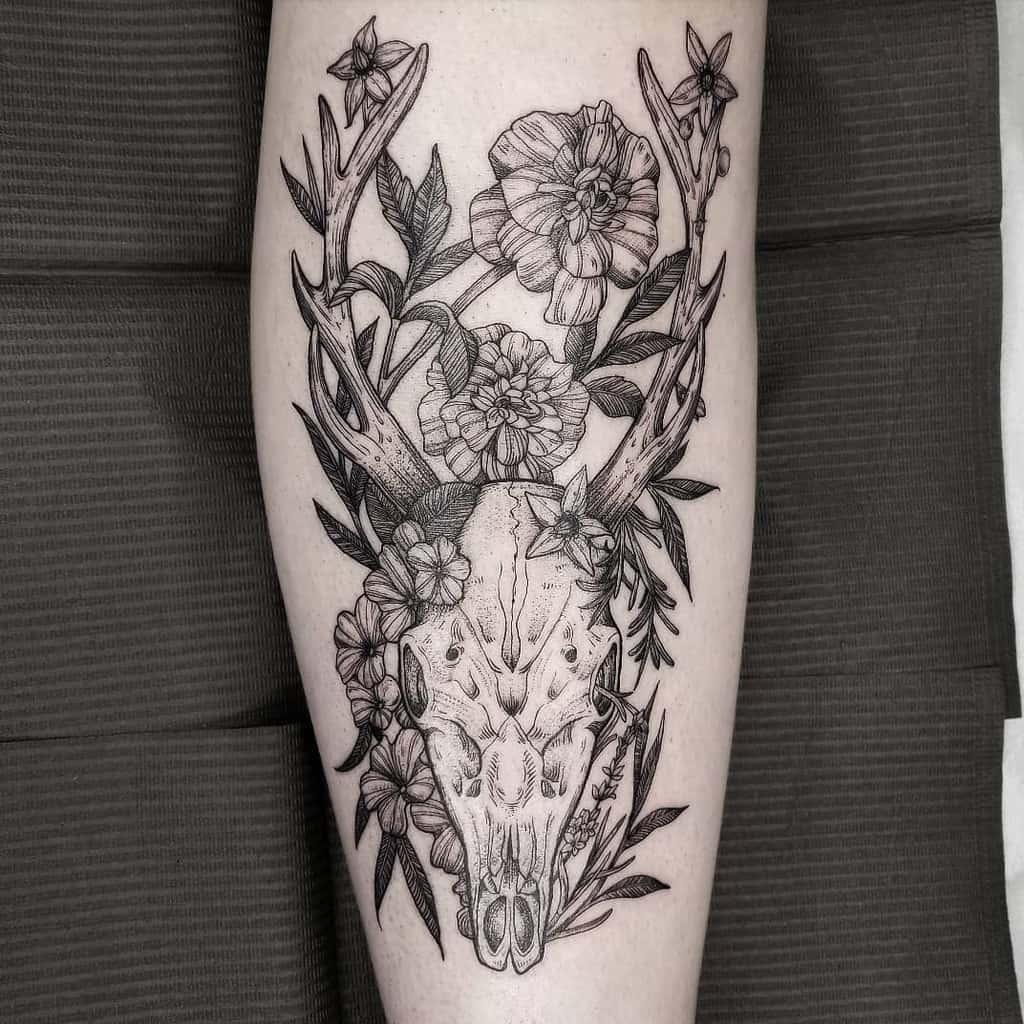floral deer skull tattoo racheltruskotattoos