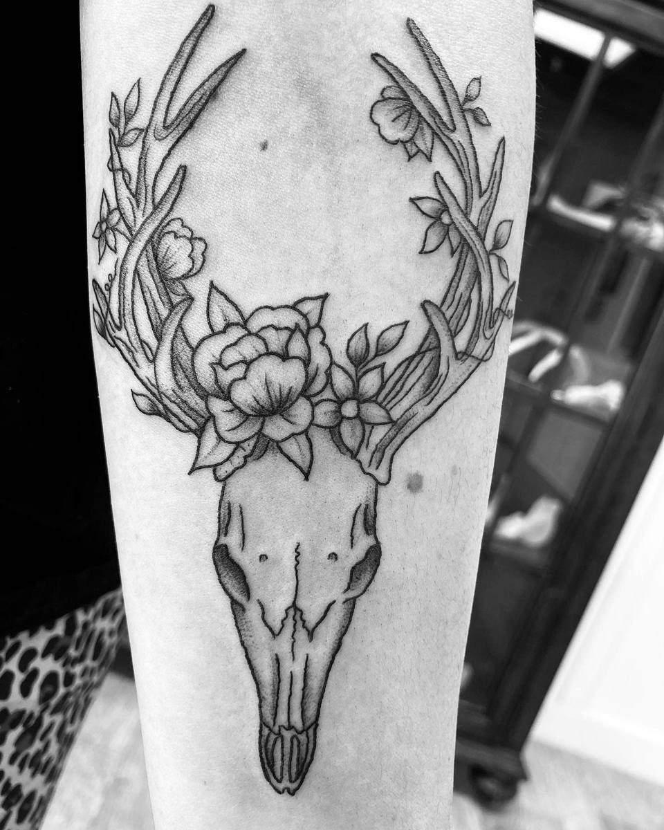 floral deer skull tattoo sandoval.kylie