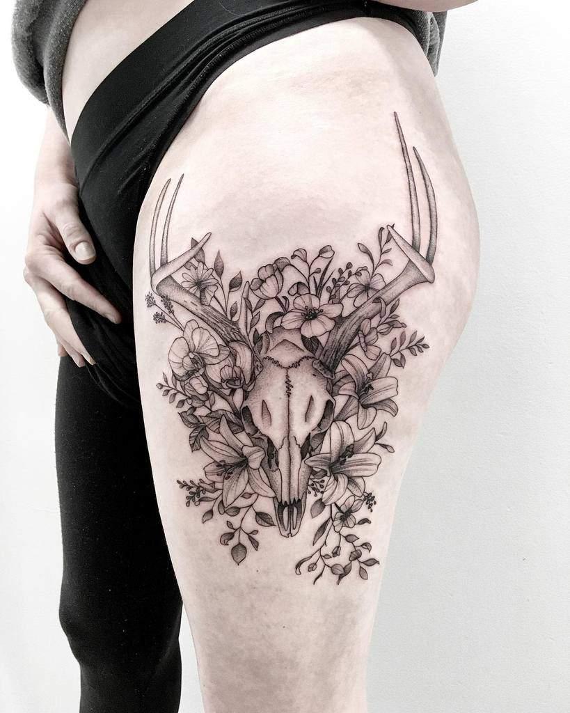 floral deer skull tattoo scholesink
