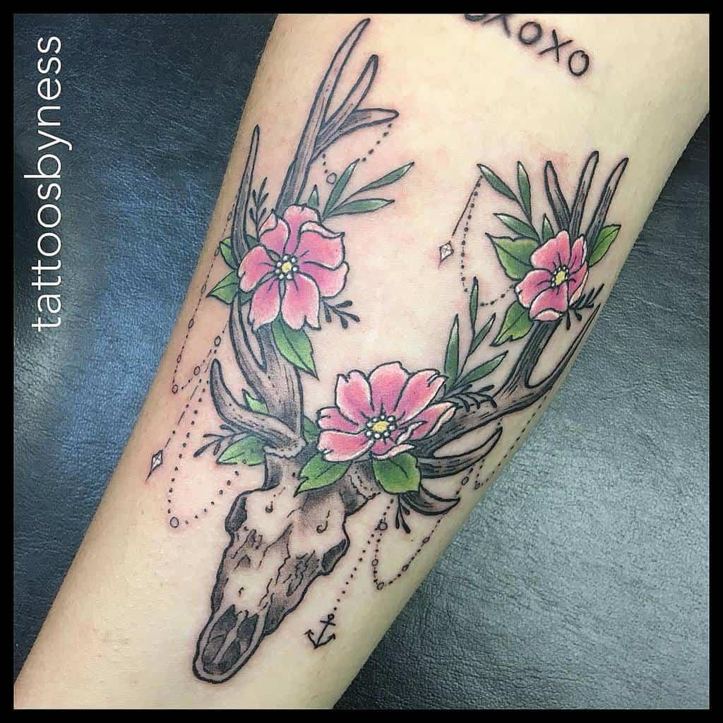 floral deer skull tattoo tattoosbyness