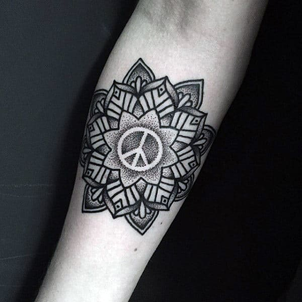 Floral Dotwork Peace Sign Male Inner Forearm Tattoos