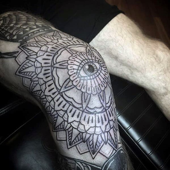 Floral Eye Of Providence Mens Knee Cap Tattoos