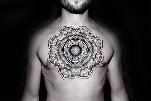 Floral Factal Male Upper Chest Tattoos