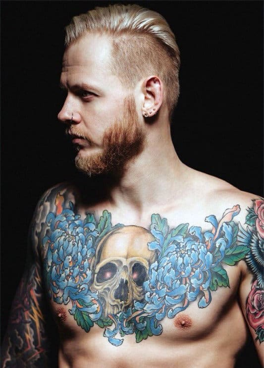 Floral Flowers Male Chest Skull Tattoos