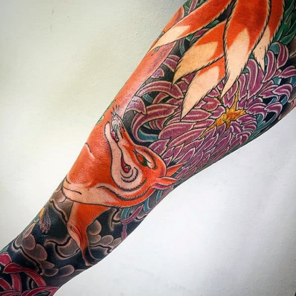 Floral Guys Kitsune Fox Leg Sleeve Tattoos