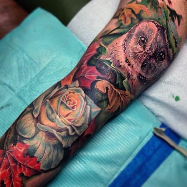 Floral Guys Tree Leaf Tattoos With Owl Full Sleeve In Color