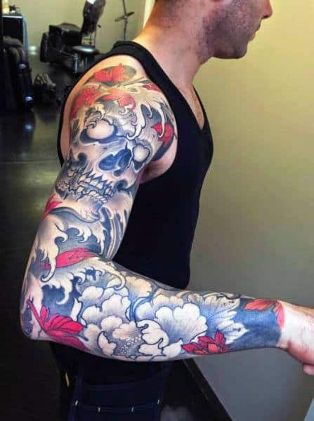 Floral Half Sleeve With Skull And Water Design Mens Japanese Tattoos