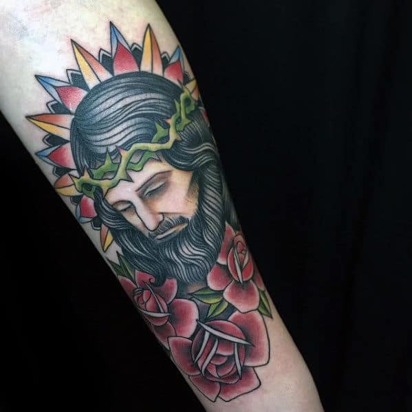floral-jesus-forearm-traditional-tattoos-for-men