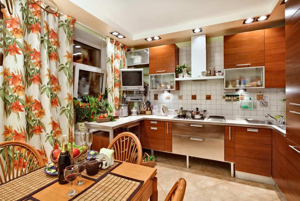 floral kitchen curtain ideas 2