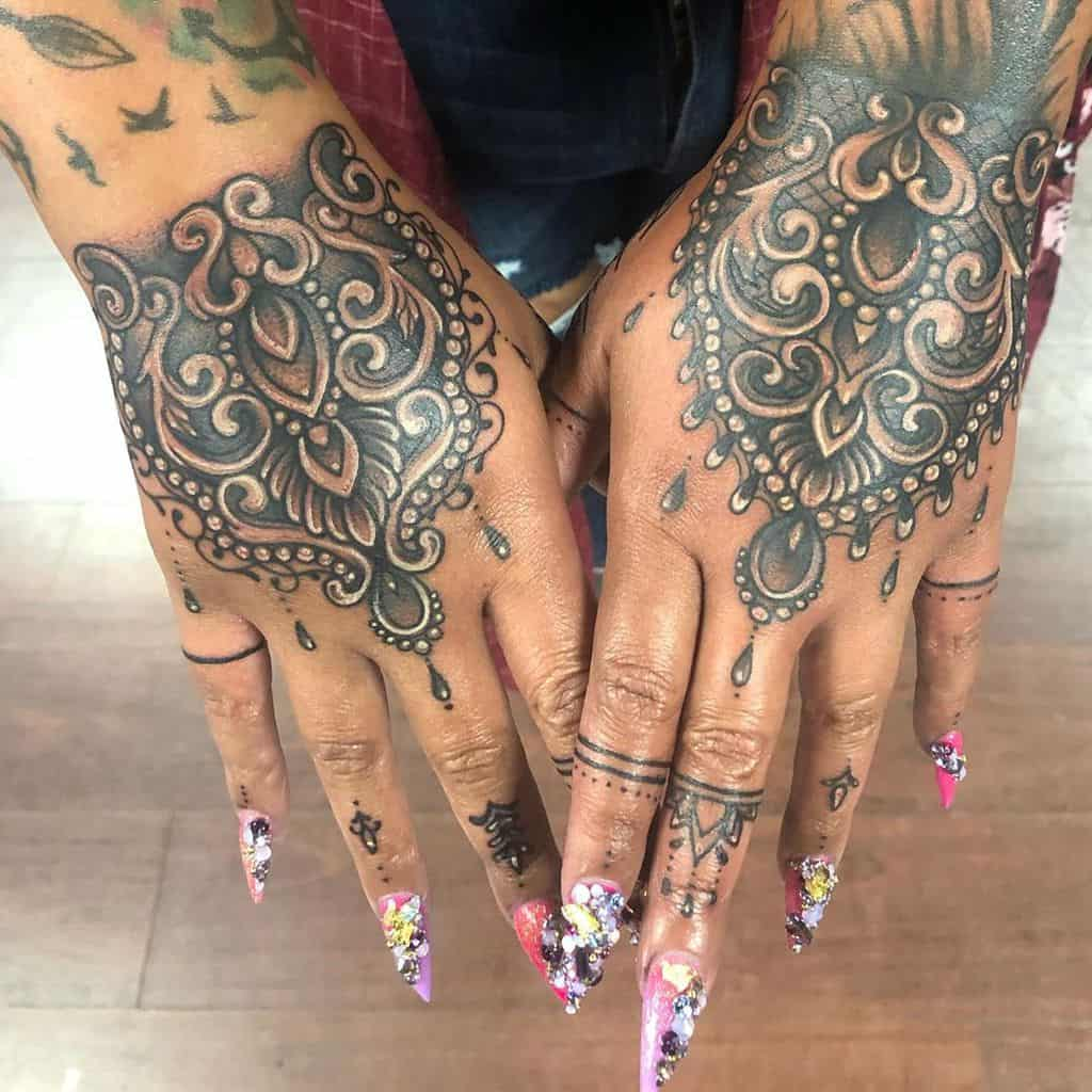 Floral Lace Hand Tattoo