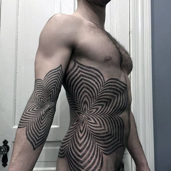 Floral Linework Guys Pattern Rib Cage Unique Tattoos