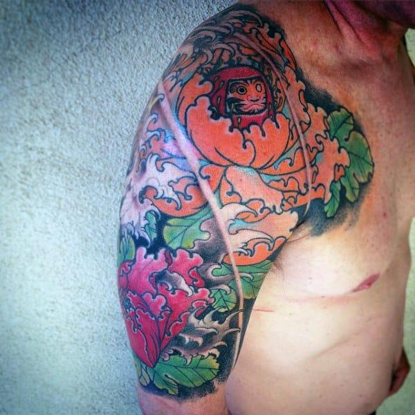 Floral Male Daruma Doll Half Sleeve Tattoo Ideas