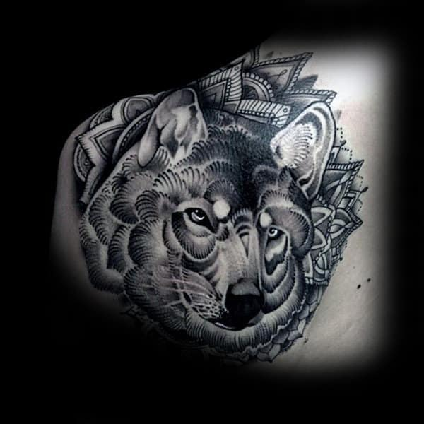 Floral Male Wolf Back Tattoo Designs