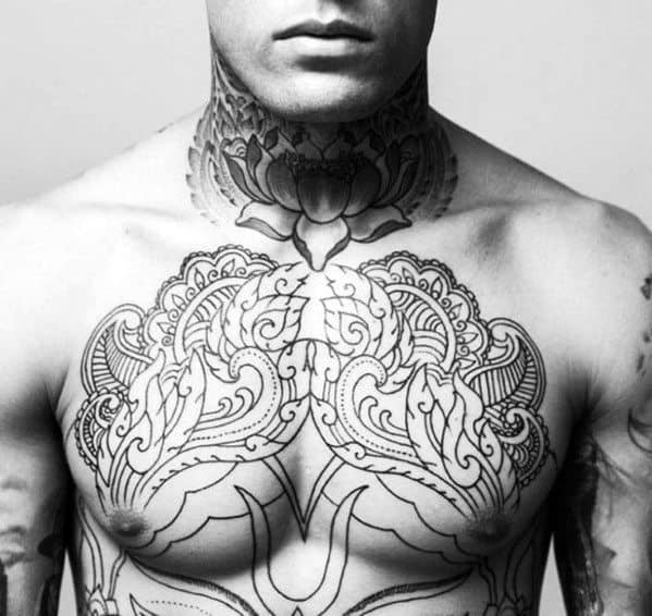 Floral Men's Chest Tattoo Ideas