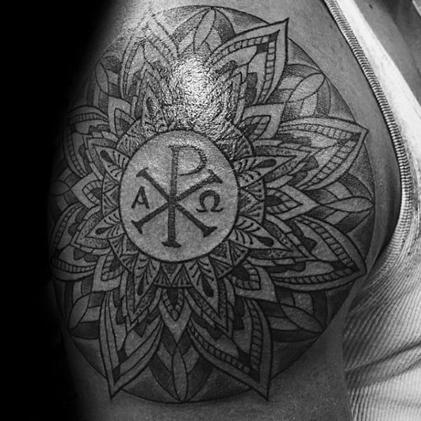 Floral Mens Chi Rho Upper Arm Tattoos