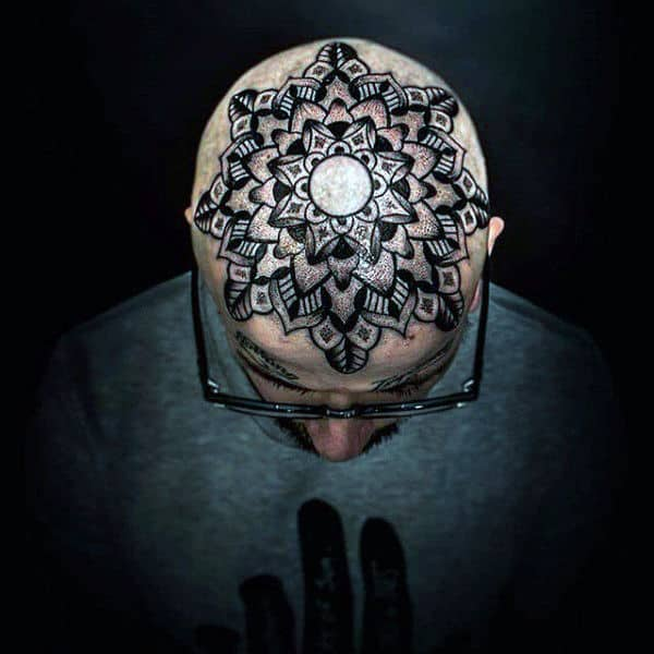 Floral Mens Geometric Top Of Head Tattoo