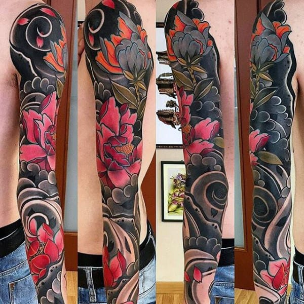 Floral Mens Japanese Full Unique Sleeve Tattoo