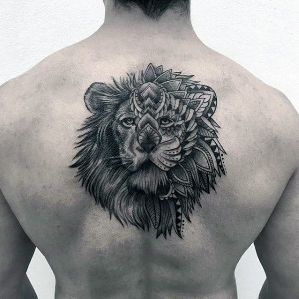 Floral Mens Pattern Lion Back Tattoo Ideas