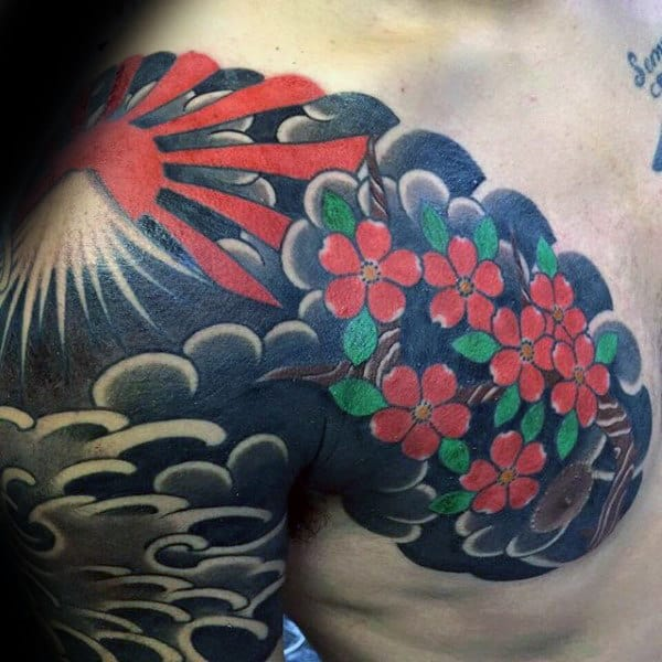 Floral Mens Rising Sun Japanese Cloud Sleeve And Chest Tattoo