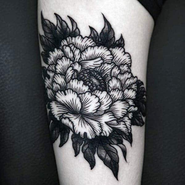 Floral Mens Woodcut Arm Tattoo