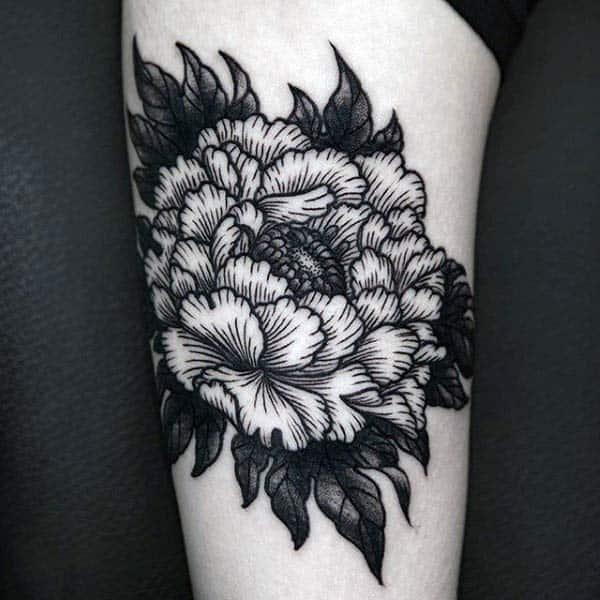 Floral Mens Woodcut Arm Tattoo