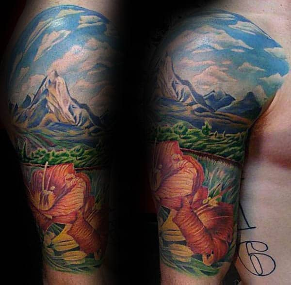 Floral Mountains With Sky Landscape Half Sleeve Tattoo On Male