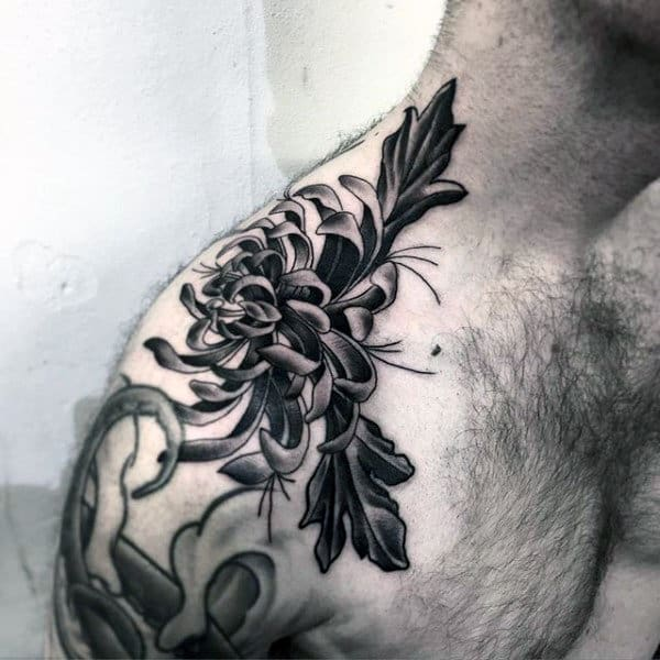 Floral Neo Traditional Insane Guys Shoulder Tattoo Designs