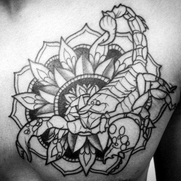 Floral Ornate Male Scorpio Chest Tattoos