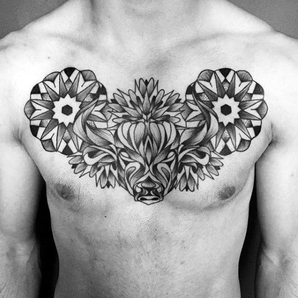 Floral Pattern Geometrical Taurus Bull Mens Upper Chest Tattoos