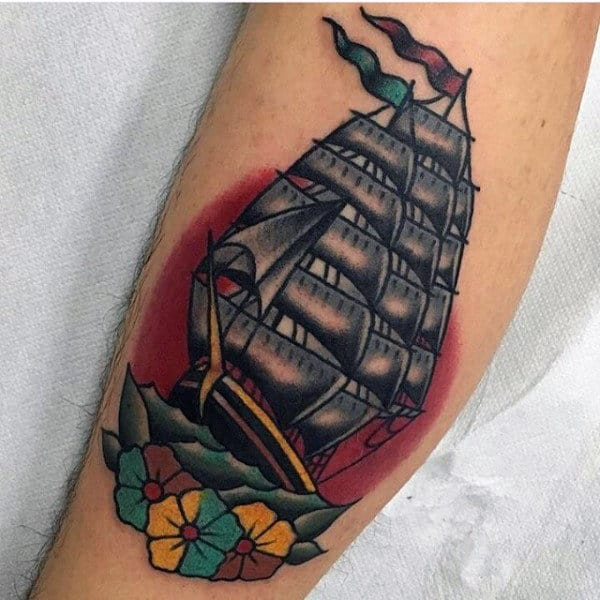 Floral Sailing Ship Guys Small Traditional Tattoo Ideas On Leg