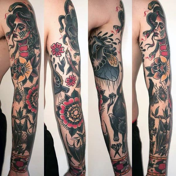 Floral Traditional Guys Sleeve Tattoo Ideas