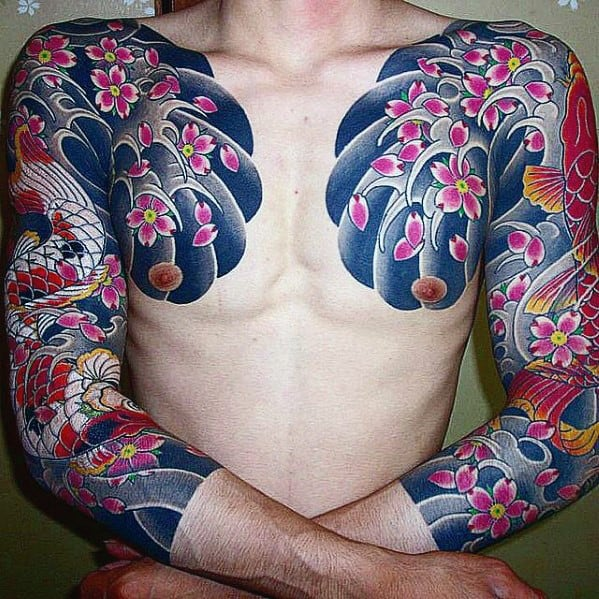 Floral Traditional Japanese Male Chest Water Waves Tattoo